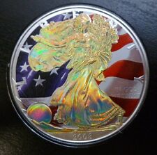 USA 1oz .999 Fine Silver American Eagle $1 2008 Colourised American Flag + COA