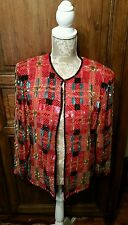 VTG Beaded Silk Red Evening Jacket Niteline Della Roufogali Medium