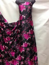 Designer Soft Satin Print Rose Floral Black / Pink  Dress Craft Fabric