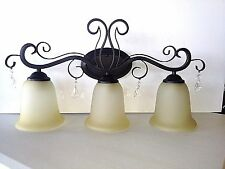 New 3 light Oil Rubbed Bronze vanity bathroom wall lights ORB with crystals CR