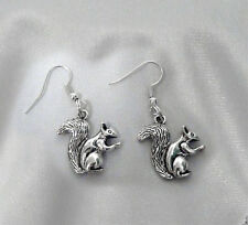 BEAUTIFUL SQUIRREL EARRINGS TIBETAN SILVER DOUBLE SIDED CHARM VERY CUTE