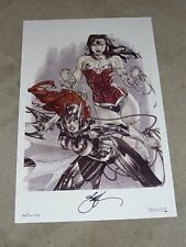 BATGIRL AND WONDERWOMAN ART PRINT - ART BY EBAS SIGNED 11x17