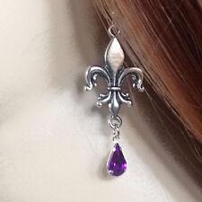 gothique mediévale mariage renaissance fleur de Lys perles à facettes violettes