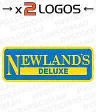 2x NEWLANDS DELUXE YELLOW vintage, retro Caravan decal, sticker