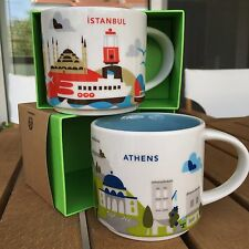 Starbucks Coffee 2x 'You Are Here' ATHENS & ISTANBUL YAH City Mugs, 2 mug lot!