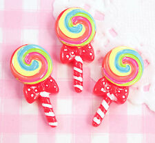 5 x Rainbow Red Lollipop Candy Cabochon Embellishments Kawaii Craft Decoden