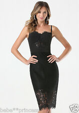 $159 NWT bebe black floral lace strapless midi bustier bra top dress XS size 2