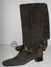 NWOB GORGEOUS EXPENSIVE COLE HAAN TALL BROWN SUEDE BOOTS ITALIAN LEATHER 11N
