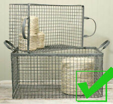 Vintage Industrial Set of Metal WIRE STORAGE BINS Nesting Basket- Galvanized