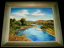 PAINTING Original Landscape Nashwaak River New Brunswick Canada  Signed Nell B.