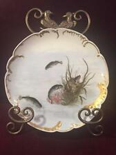 ANTIQUE HAVILAND & CO. LIMOGES HAND PAINTED SCALLOPED FISH PLATE