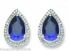 Sterling Silver Rhodium Plated Sapphire & Clear CZ Cluster Earrings 6.40 grams