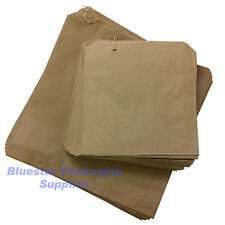 """100 x Kraft Brown Paper Food Bags Strung 7"""" x 7"""" for Sandwiches Groceries etc"""