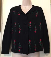 100% Merino Wool Cardigan Sweater Black Embroidered Red Rose Buds Unique - Small
