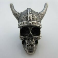 Viking Skull Paracord/Leather Bead in Pewter by Marco Magallona