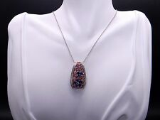 18k White Gold 3.77ct Blue Pink Orange Sapphire Diamond Pendant Necklace 16 inch