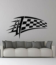 Removable Vinyl Sticker Mural Decal Wall Decor Checkered Race Flag Emblem VY472