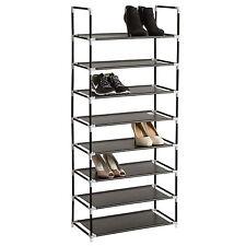 Étagères à chaussures armoire placard 8 niveaux meuble rangement chaussure noir