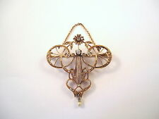 MAGNIFIQUE BROCHE ANCIENNE EN OR 18K DIAMANTS, PERLE  or 18 carats