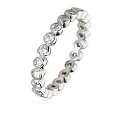 Stackable Eternity Promise Wedding Band Rings 925 Sterling Silver Crystal CZ US8