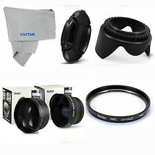 WIDE ANGLE MACRO +2X TELEPHOTO+UV FILTER +HOOD + CAP FOR SONY ALPHA  A200 A300