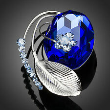 Platinum Plated Leaf W/Blue Swarovski Austrian Crystal Flower Pin Brooch B658-32