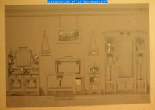 Alt-kolorierte Farbstiftzeichnung-Jugendstil Damen-Schlafzimmer um 1905 Entwurf