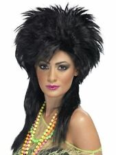 Groovy Black Wig Punk Chick Club Hen Fancy Dress Rock Party 80's