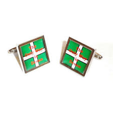Green & White The Only Way Is Devon Cufflinks With Gift Pouch Present For Him