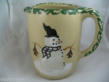 """Roseville Pottery Pitcher 1998 Ohio Snowman with Birdhouses 5 1/4"""" x 3 1/2""""Clean"""