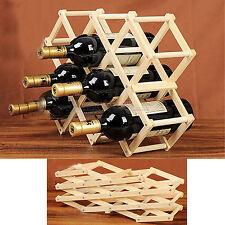 NUOVO 10 Bottiglie Vino Rack in legno pieghevole FREE STANDING BOTTIGLIA BAR LEGNO Stand
