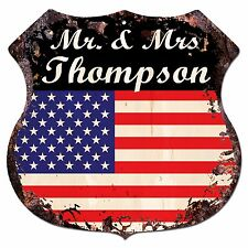 BPLU0019 America Flag MR. & MRS THOMPSON Family Name Sign Home Decor Gift