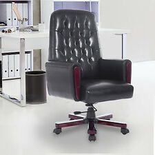 High Back Desk Task Office Chair PU Leather Computer Executive Rocking Black