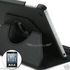 Black Apple iPad Mini 1 2 Retina Display Smart Leather Case 360°Rotate+Film