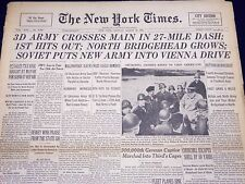 1945 MARCH 26 NEW YORK TIMES - 3D ARMY CROSSES MAIN IN 27 MILE DASH - NT 341