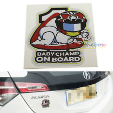 (1) Cute Cool Kids BABY CHAMP ON BOARD Car SUV Window Decal Sticker Warning Sign