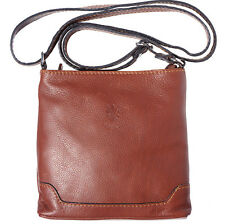 Crossbody Bag Italian Genuine Leather Hand made in Italy Florence 8685 br