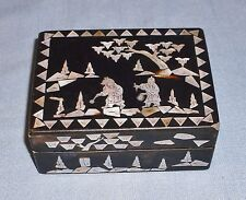 Vintage Black Lacquer Ware Trinket Box Abalone Shell Inlay Design Japan Asian