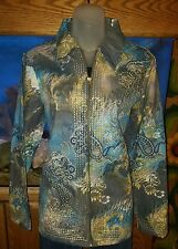 NW/OT National Geographic Purple/Teal Ombre Embroidered Jacket Size Medium