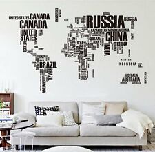 Letter World Map Quote Removable Vinyl Decal Art Mural Home Decor Wall Stickers