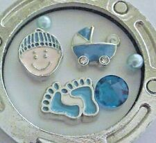 Baby Boy Floating Charm set Blue Cap Carriage Feet crystal pearl for Locket