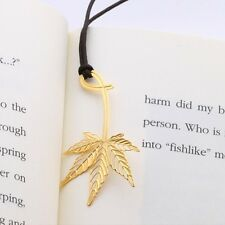 Golden MAPLE LEAF 18k gold plated BOOKMARK with leather string for gift item