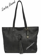 NWT $198 Women's Lucky Brand Carmen Black  Leather Tote Bag Purse ~See Receipt
