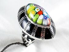 Genuine  Murano Millefiori Glass Ring Alan K 925 Sterling Silver Size 6