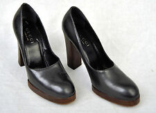 Gucci Grey Patent Leather Platform Heels Shoes 6.5 B Italy Womens
