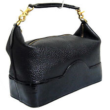 Auth Versace Sunburst Vanity Cosmetic Hand Bag Purse Black Leather Styled Italy