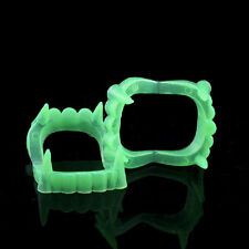2 Pcs Funny Scary Halloween Party Prop Plastic Luminous Vampire Teeth Joking Toy