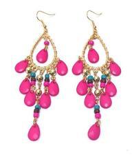 G3 Multi Tear Drop Acrylic Stone EARRINGS Chandelier Goldtone Hot Pink Blue NEW