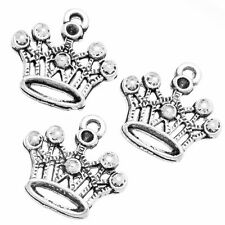 50pcs Wholesale Retro Silver Tone Crown Shape Charms Pendant Jewellery Making LC