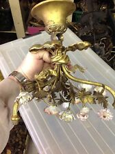 Small Antique French 3 Arm Gilded  Brass Hanging Lamp With Porcelain Flowers